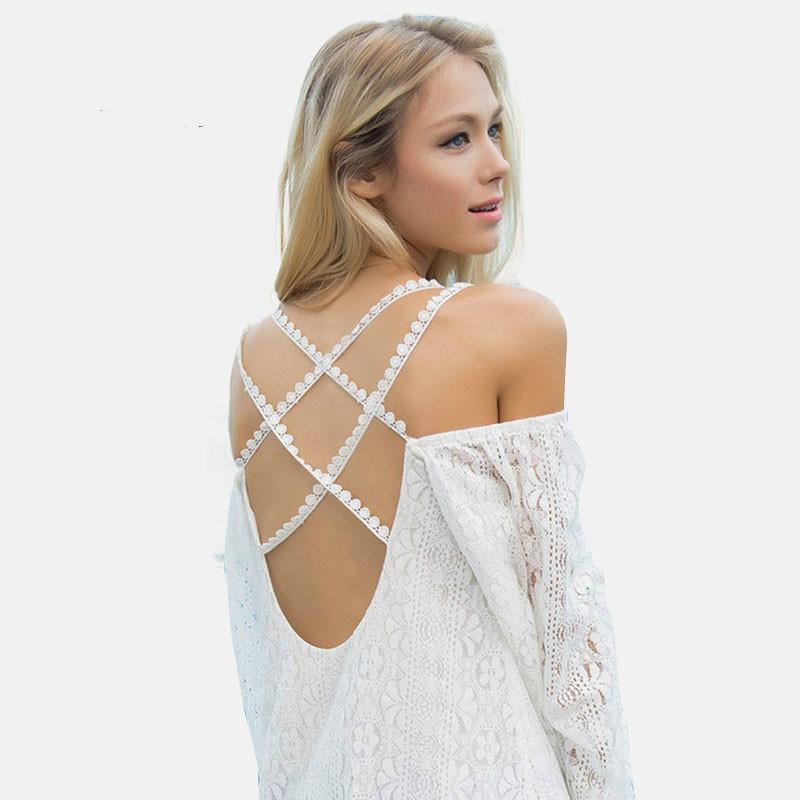 2016 New Women White Summer Dress Bohemia Sweet Sexy Strapless Backless dress Sleeve Cross Beach Holiday Dress Plus Size Xxl(China (Mainland))