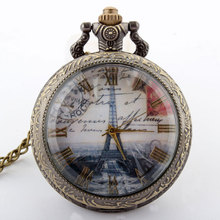 Buy Fashion Antique Color Paris Eiffel Tower Famous Buildings Bronze Pocket Watch Glass Roman Number Pendant Necklace Gift P124 for $3.30 in AliExpress store