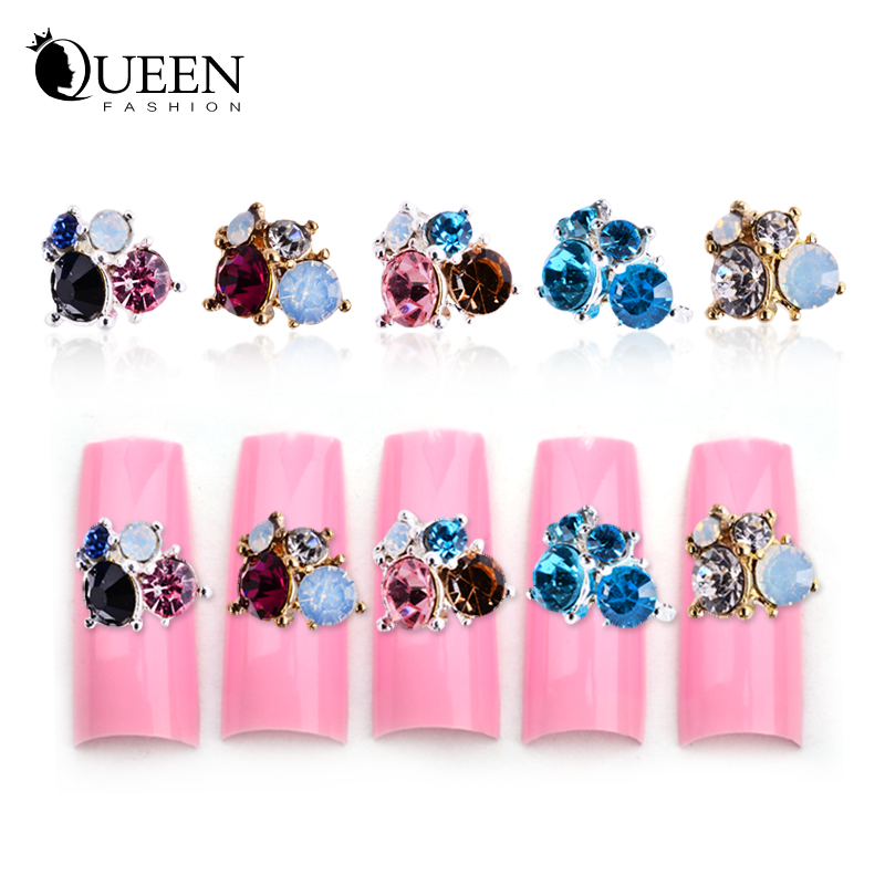 Zircon Rhinestone Alloy Flowers 3d Nail Art Decorations,5Designs(1) Glitter Candy DIY Beauty Accessories Jewelry - Fashion Queen Accessory Co. , Ltd store