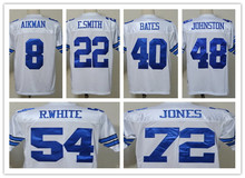Free Shipping Men's T-shirts Emmitt Troy Bates Aikman Smith Throwback Jersey Roger White Staubach Johnston size 48-56(China (Mainland))