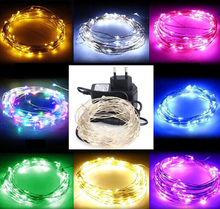 LED String Light 10m 100leds Silver Wire Fairy Lights with 12V 1A Power Adapter Christmas New Year Wedding Decoration Lights(China (Mainland))