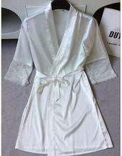 Mid-sleeve sexy women nightwear robes plus size M L XL XXL lace real silk female bathrobes free shipping 2015 vs brand hot(China (Mainland))
