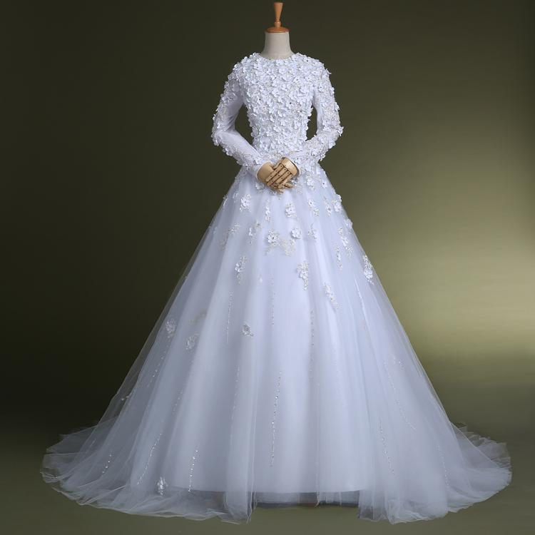 Robe de mariage plus size white long sleeve wedding dress for Wedding dress appliques suppliers
