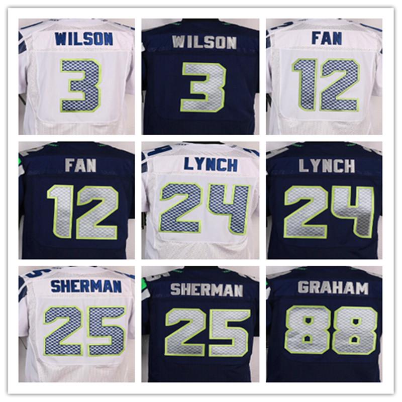 Goede kwaliteit, mannen 12 12e Fan 24 Marshawn Lynch 25 Richard Sherman 31 Kam Bondskanselier 88 Jimmy Graham elite jerseys, Maat 40-56(China (Mainland))