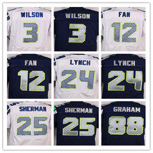 Good quality,Men's 12 12th Fan 24 Marshawn Lynch 25 Richard Sherman 31 Kam Chancellor 88 Jimmy Graham elite jerseys,Size 40-56(China (Mainland))