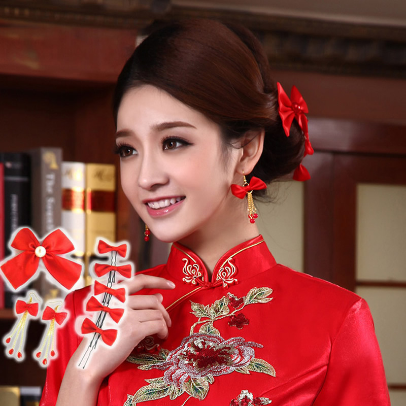 Bridal Boutique Act the Role Ofing Is Tasted Bowknot Headwear Bride Headdress Flower Edition 8 Pieces Silk Bowknot(China (Mainland))