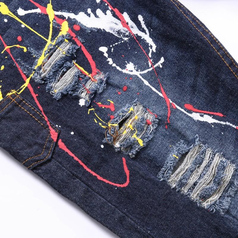 Men's Clothing Famous Brand Painting Straight Jean Meth Cotton Designer Denim Pants Men Regular Ripped Holes Motorcycle Jeans