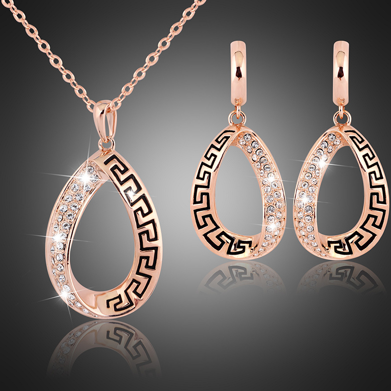 2015 NEW Rose gold plated Austria crystal pendant necklace earrings bridal jewelry set party luxury jewellery(China (Mainland))