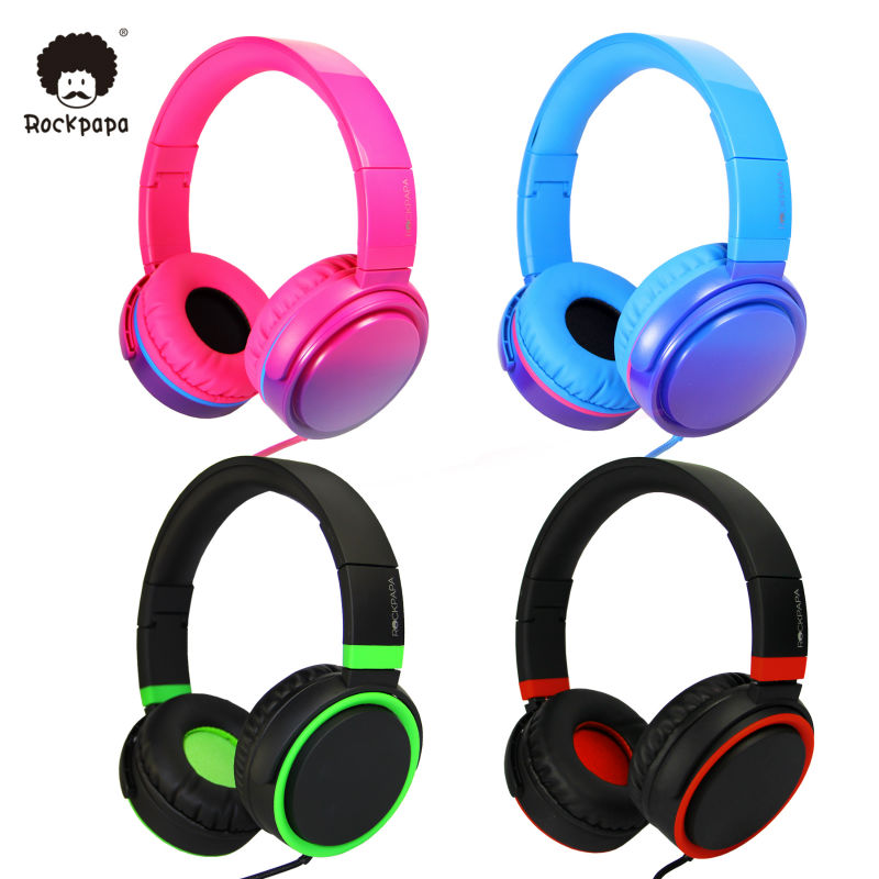 Rockpapa OV982 Stereo Graduate Color Adjustable Foldable font b Headphones b font with Microphone for iPhone