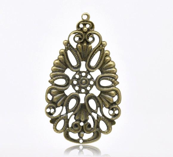 Free Shipping 50 Bronze Tone Flower Drop Charms Pendants 48x28mm B100012