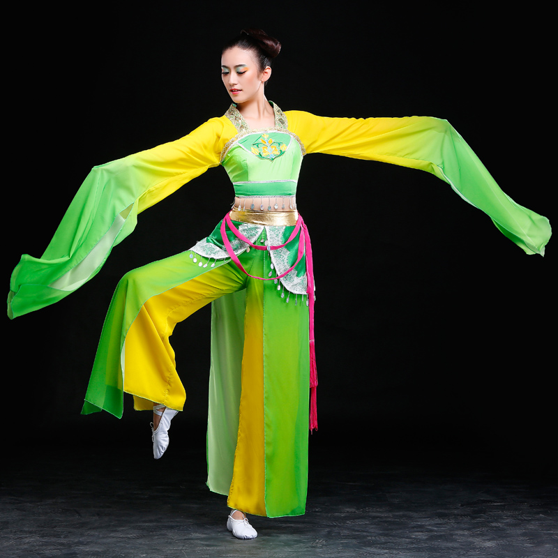 Chinese Classical dance clothes hanfu ancient costume fairy set yellow green long Sleeves costumes water sleeves flying clothes(China (Mainland))