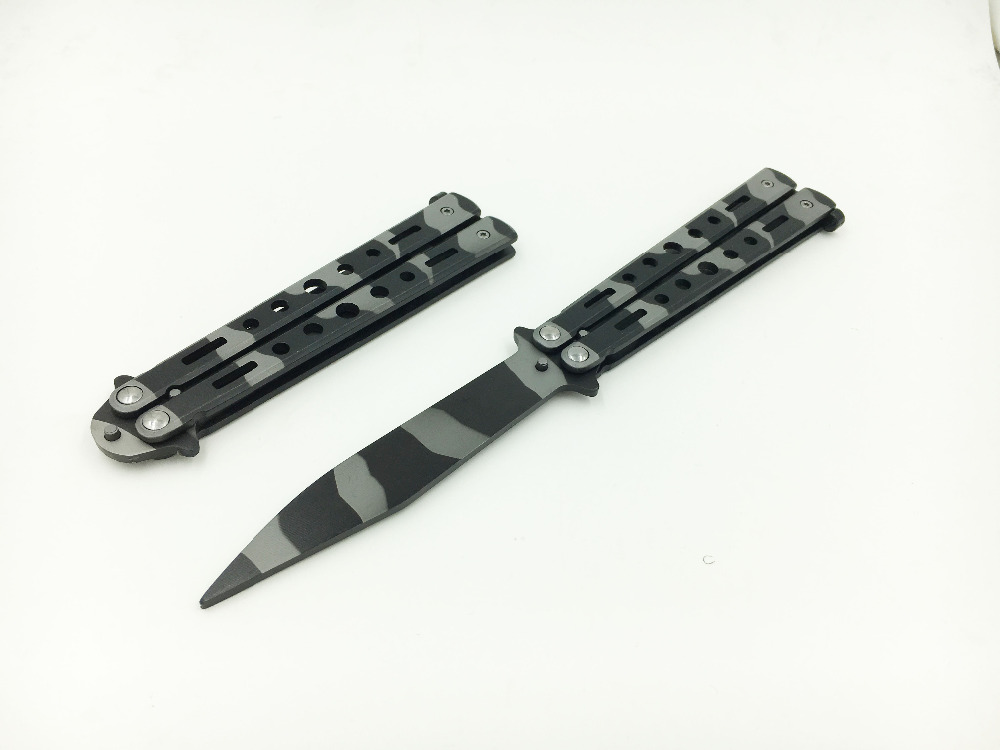 Stainless Steel Training Knife folding titanium black camo knife butterfly balisong knife no edge dull tool(China (Mainland))