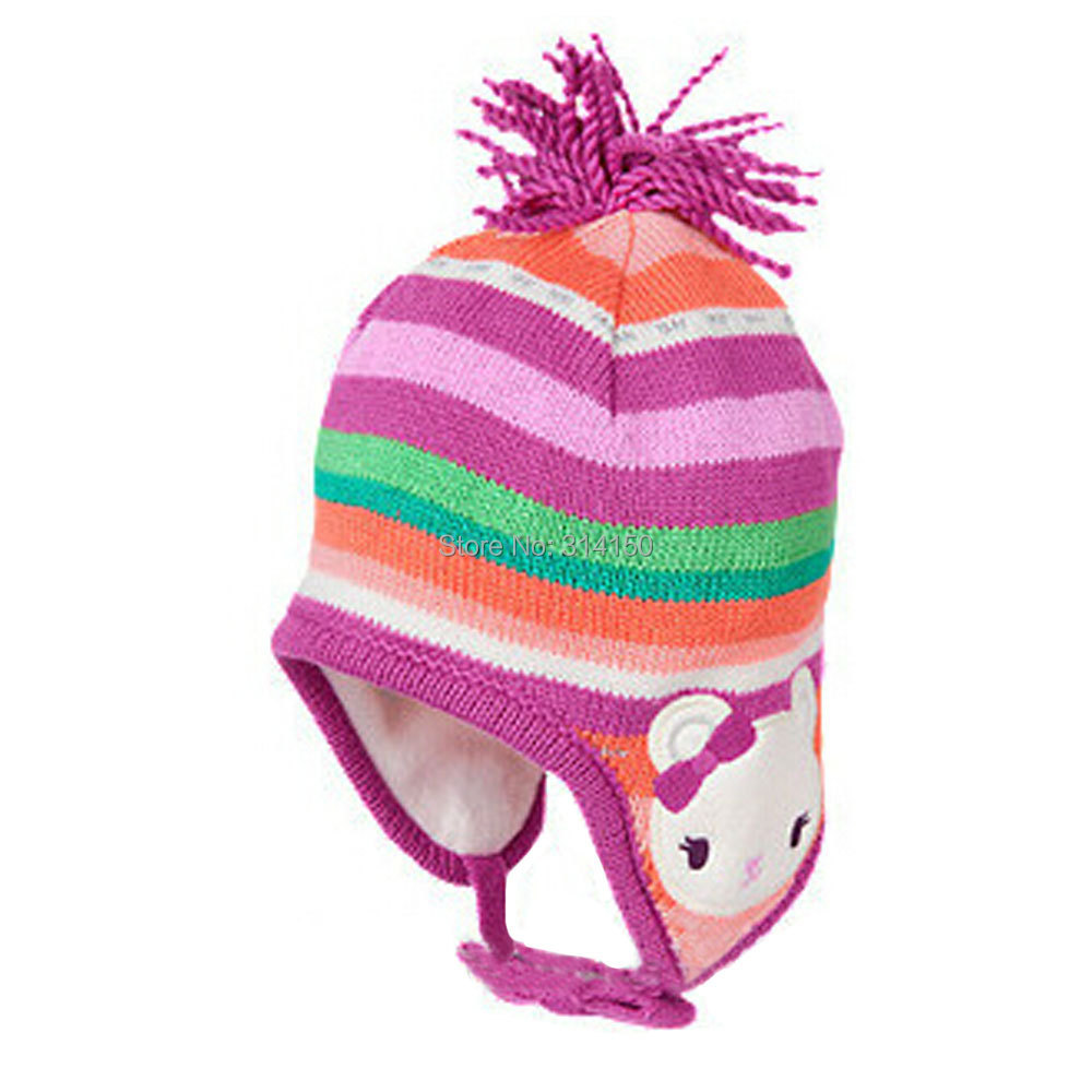 TOU-New Baby Caps Children's cute cartoon Warm Hats baby girls/boys Crochet hats Ear Protect Winter Hat 1pcs free shipping(China (Mainland))