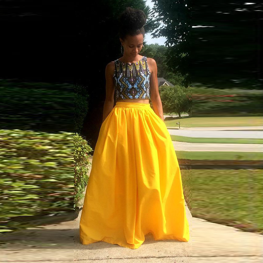 Fashion African Style Yellow Maxi Skirt Zipper Band Waist