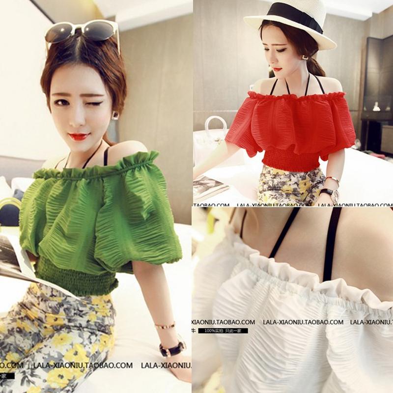 Women Blouse Real Mushroom Women's Elastic Slim Waist Chiffon Slit Neckline Top 2015 Spring And Summer Sexy Female Blouses Shirt(China (Mainland))