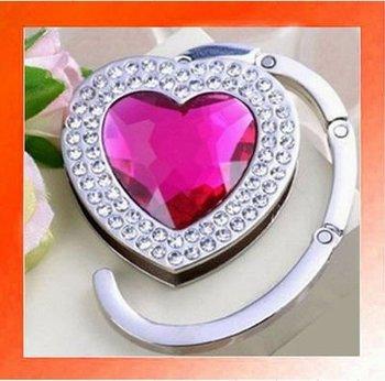 20PCS X Crystal Heart shape Folding Handbag Purse Hook Hanger Holder gift-Pink color. Wholesale and Retail. Free shipping.
