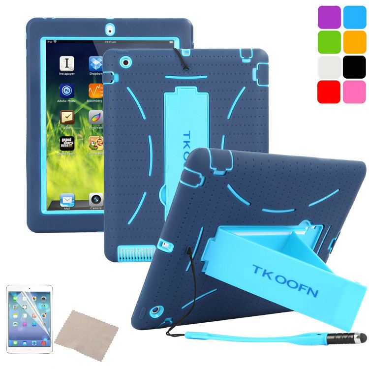 Shockproof Heavy Duty Case for ipad 3 Silicone Hard Case for ipad 4 Kickstand Cover for Apple iPad 2 3 4 Screen Film+Stylus Pen(China (Mainland))