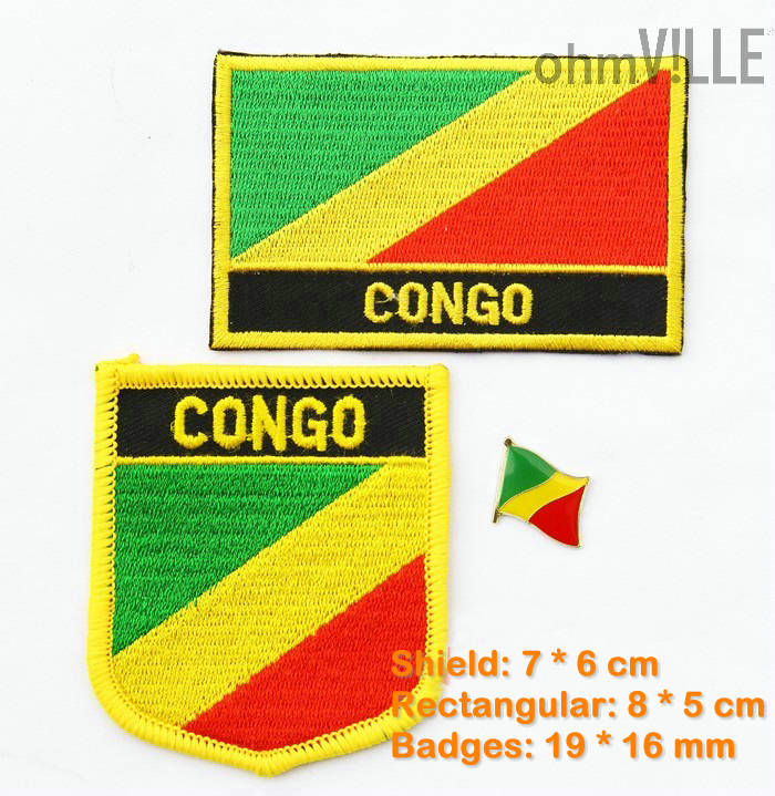 Congo Flag Patch Iron On Patches - 100% Quality Guarantee Flag Embroidered Patches(China (Mainland))