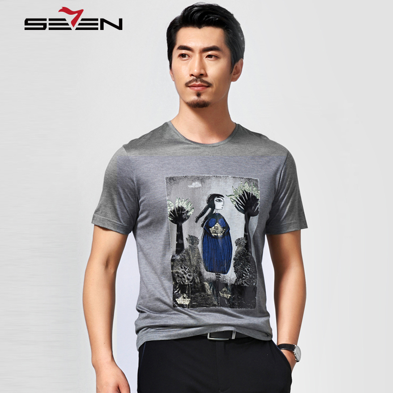 Seven7 Fashion Men T- Shirts Cartoon Character Pattern Print T Shirts O Neck Short Sleeve Straight Fit Casual T-Shirts 804T5119(China (Mainland))