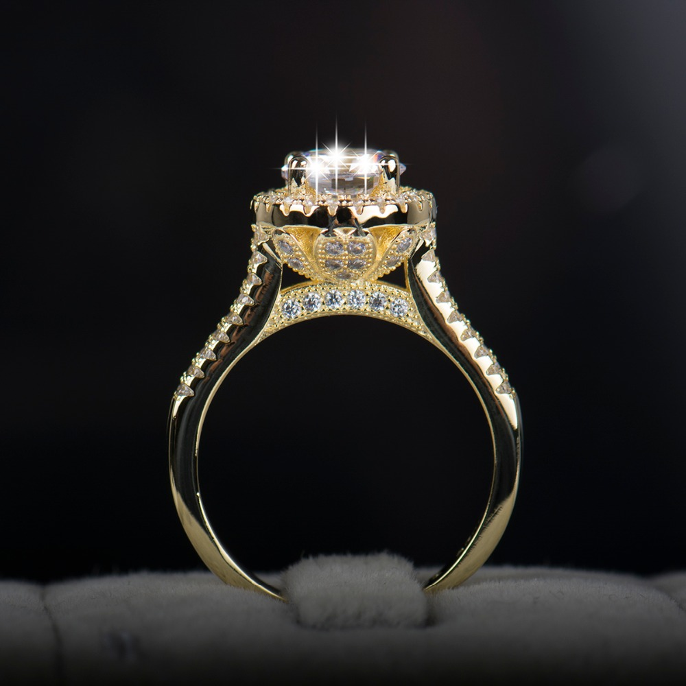 2017 new fasion jewelry real 925 solid silver ring AAAAA Cubic zircon for women 18K gold plated engagement wedding rings(China (Mainland))
