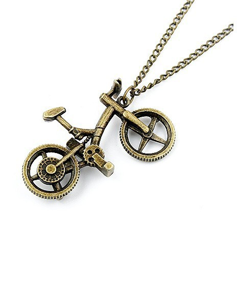 Korean fashion vintage bicycle bike long necklace for women 2015 necklaces & pendants sweater chain(China (Mainland))