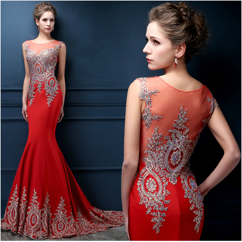 Elegant Competitors Long Evening Dress 2015 Red Stain Beaded Scoop Mermaid Evening Dresses Prom Party Gowns MV088(China (Mainland))