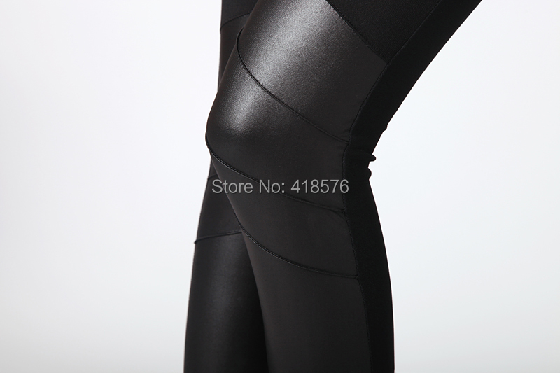 Fashion Splice Imitation Denim Leggings Splicing Imitation Leather