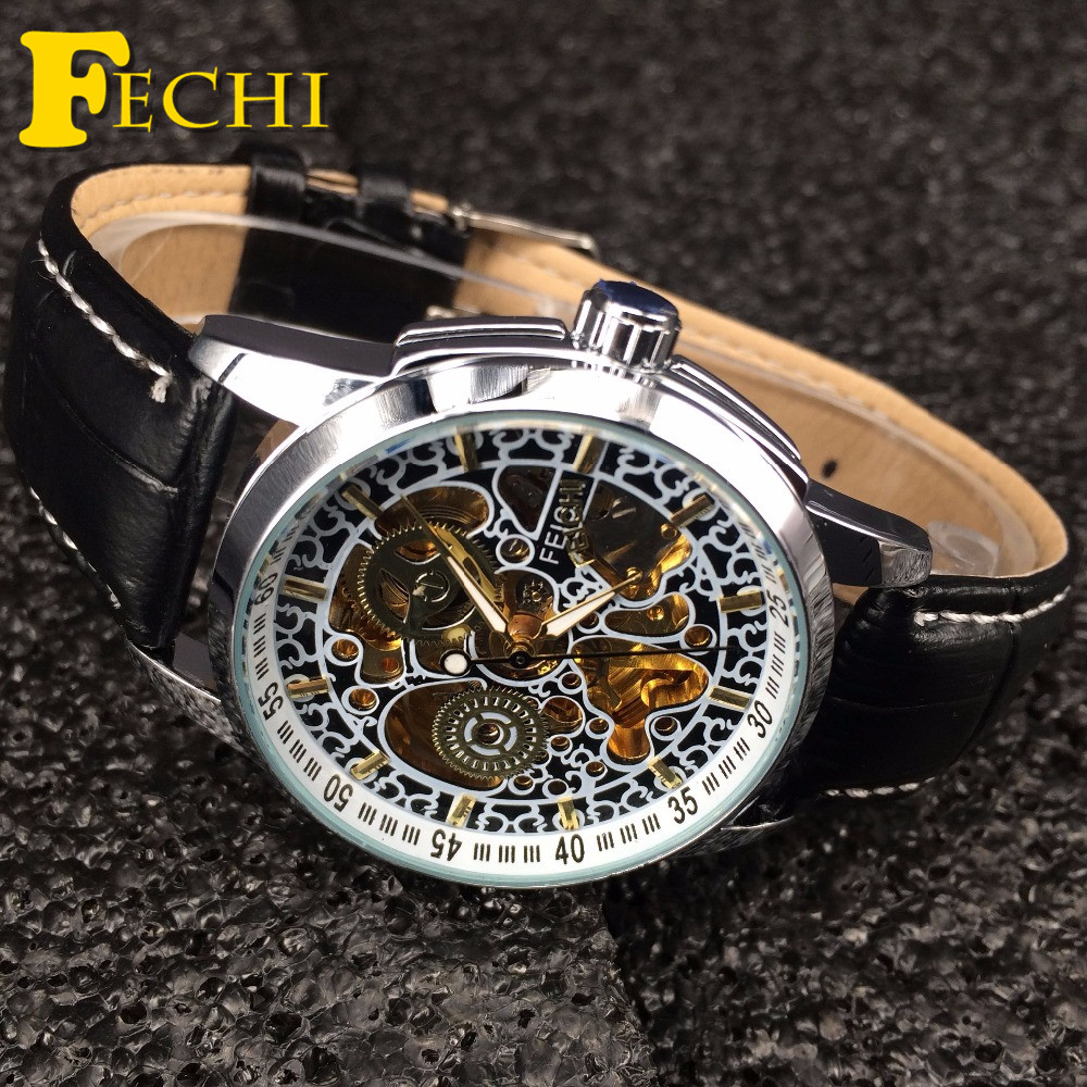 FECHI Fashion Brand Watch Leather Strap Self-wind Automatic Mechanical Wrist Watches for Men Relogio Masculino FE016B<br><br>Aliexpress