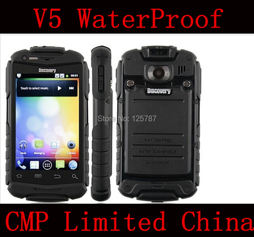 Free Shipping Guophone V5 Waterproof Shockproof Dustproof 3.5 Inch MTK6572 Android 4.2 3G GPS Mobile Phone(China (Mainland))