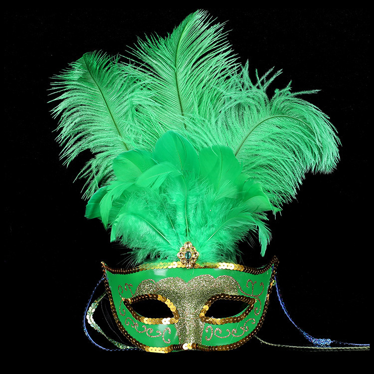 2016 Hua Xu Halloween three ostrich hair mask / Lady Green Feather make up Party Mask(China (Mainland))