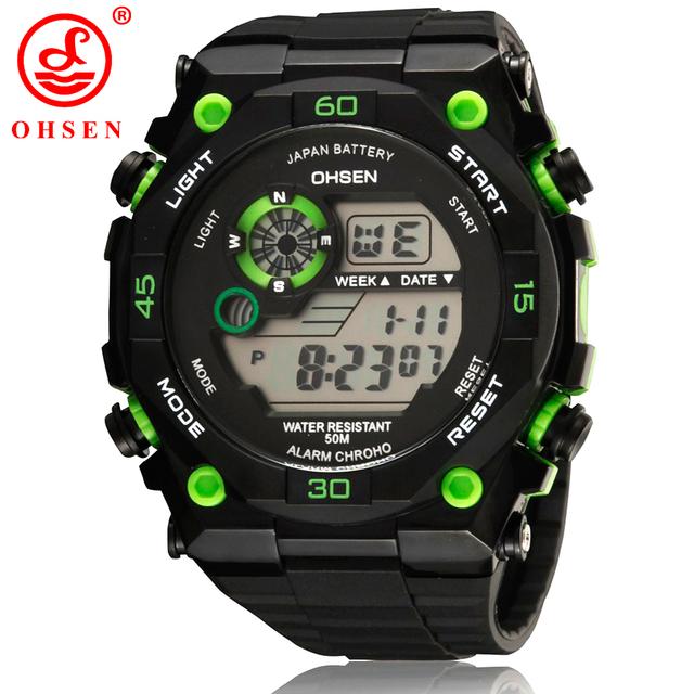 Спорт часы мужчины OHSEN сигнализация хронограф цифровой из светодиодов на открытом воздухе платье наручные часы военный часы Relogio Masculino