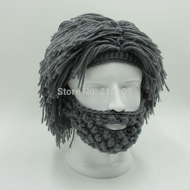 Wig Beard Hats Hobo Mad Scientist Rasta Caveman Handmade Knit <font><b>Warm</b></font> Winter <font><b>Caps</b></font> Men Women Halloween Gift Funny Party Mask Beanies
