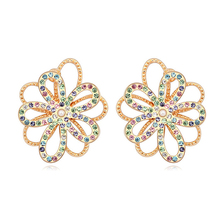 New arrival 4 colors option party accessories for female flower shaped austrian crystal statement earrings 2015