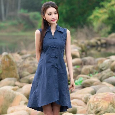 Deep Blue Green Red Turn Collar Sleeve Button Shirt Summer Fashion New 2016 Solid Color Women Irregular Linen Dress HD285(China (Mainland))