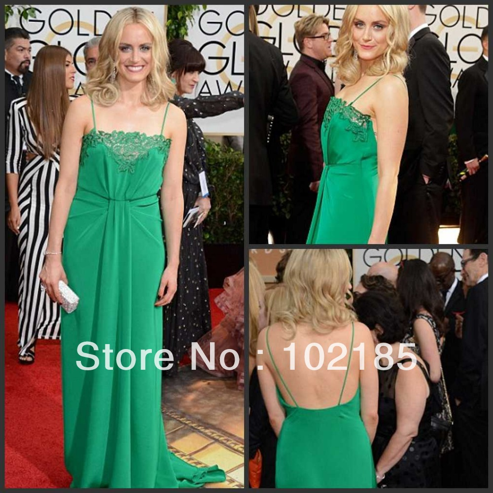 Free Shipping Taylor Celebrity Dresses Golden Globe A-line Emerald Green Lace Neckline Evening Dresses 2016 HE511(China (Mainland))