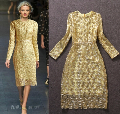 High Quality 2015 Europe New Fashion Gold Thread Paillette Beaded Mesh Dress Long Sleeve Gold Blue Women Dresses Free Shipping(China (Mainland))