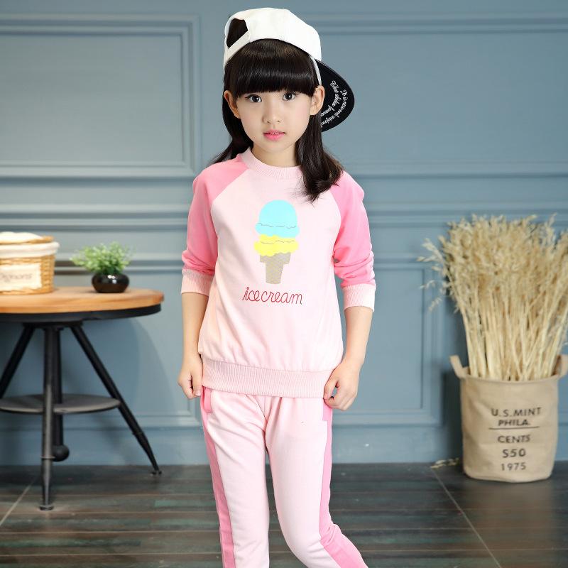 Kids Clothes Girls Sport Tracksuits 2016 Autumn Fashion Ice-Cream Print Girls Clothing Set 2PCS Long Sleeve Casual Sports Suit(China (Mainland))