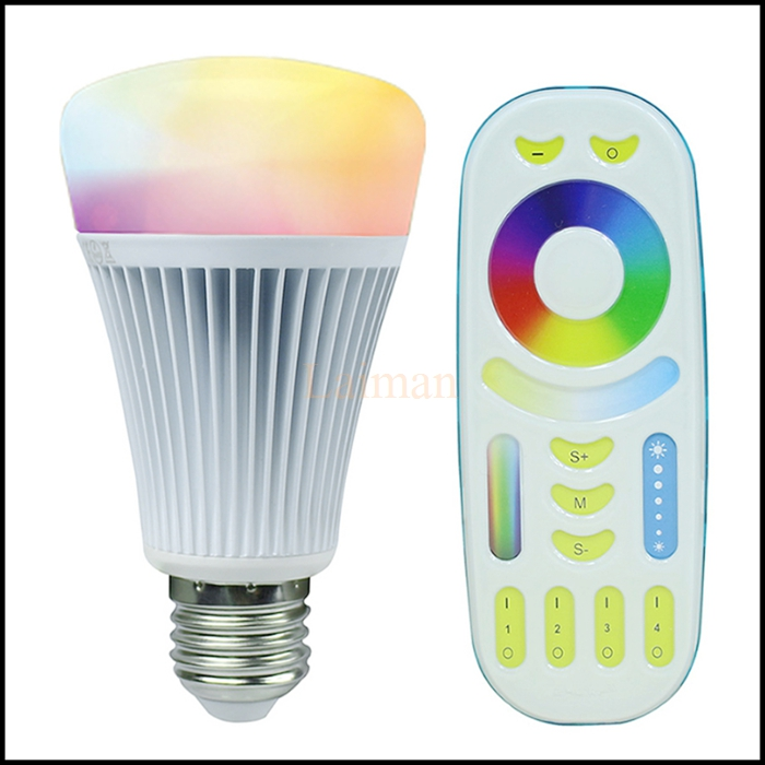 2016 NEW AC85-265V E27 8W RGBWW+ Color Temperature Milight dimmable 2.4G Wireless led bulbs Free shipping mi.light(China (Mainland))