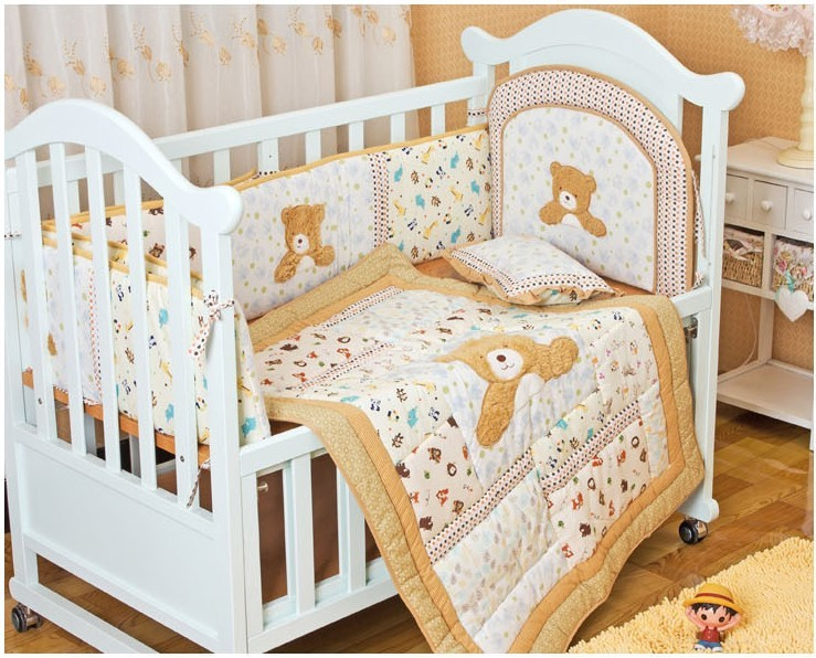 Promotion! 6PCS embroidery  Cotton Baby bed sheet bedding set for crib cot boy girl blanket,include(bumper+duvet+bed cover)<br><br>Aliexpress