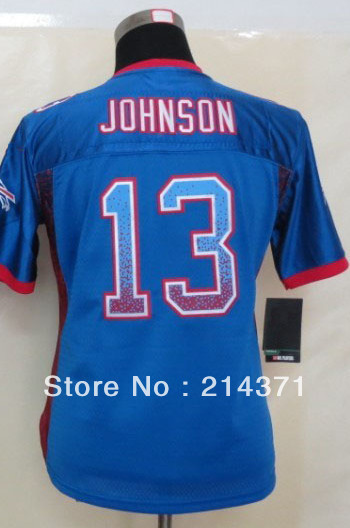 High Quality Wholesale 13 Steve Johnson Women's Drift Fashion Blue Elite Football Jersey size: S-XXL Free Shipping 2013(China (Mainland))