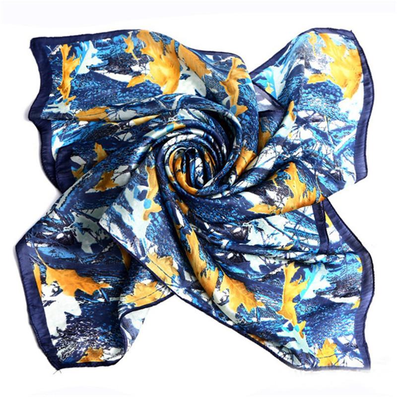 LING/Women Fashion Square Silk Scarf,Autumn Leaves Print Pattern.Soft Wrap,ladies Neck Head Scarf,Satin Shawl DF9056(China (Mainland))