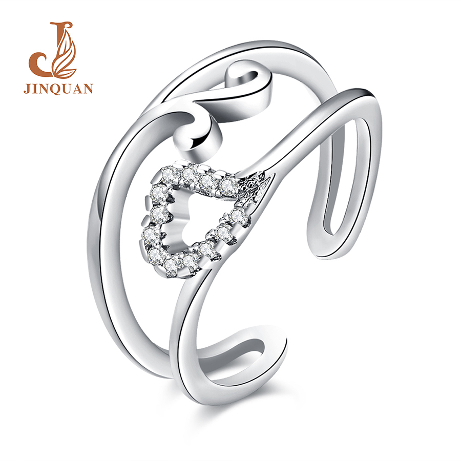 promotion wedding anniversary rings promotion wedding anniversary rings Fashion Double line crooked heart Zircon studded Silver color ring Jewelry Christmas gift rings for women wedding wholesale