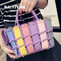 Top Handle Handbags High Quality Fashion Plaid Woven Handbag Shoulder Bag Retro Tote Bags Ladies Messenger