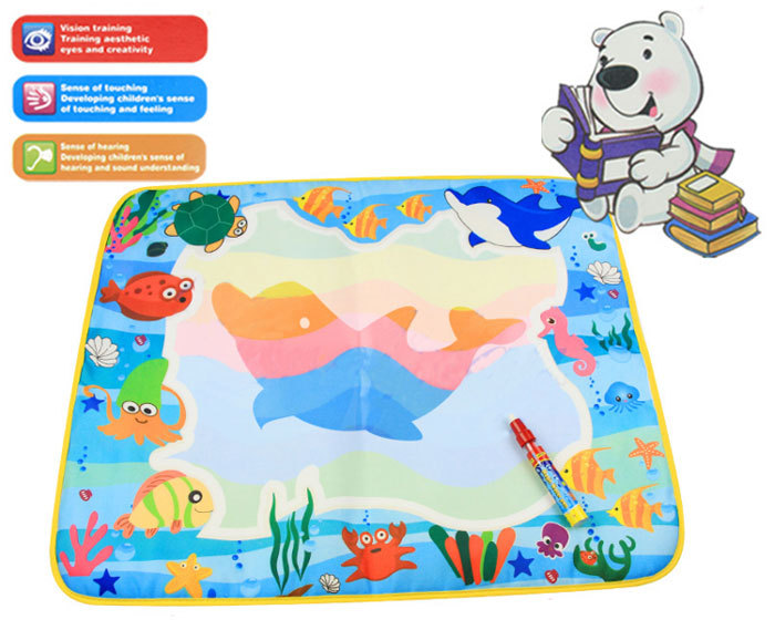 60*49cm 4 colors Water Drawing Toys Mat Aquadoodle Mat Magic Pen Water Drawing board baby play Pen Doodle Toy(China (Mainland))