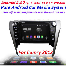 2 din Pure Android 4.4 Car DVD Player For Toyota camry 2012 with WIFI 3G USB ipod Capacitive screen Car radio Audio car stereo