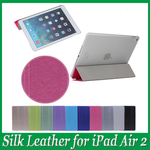 Fashion Candy Color Silk Leather Magnetic Smart Cases capa fundas Cover for Apple iPad Air 2 Free Shipping with Registered NO.(China (Mainland))