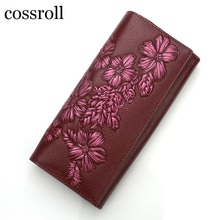 cossroll floral pattern women wallets leather long purse luxury brand women wallet leather ladies coin purse(China (Mainland))