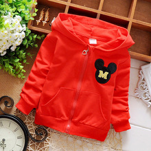 Spring Autumn Solid Color Cartoon M Letter Girls Boys Jackets Cardigan Baby Infant Children Kids Hooded