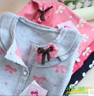2015 New Hot Sale Sweet Long Sleeve Girls Sweaters Coat Girl 4 Colors(China (Mainland))