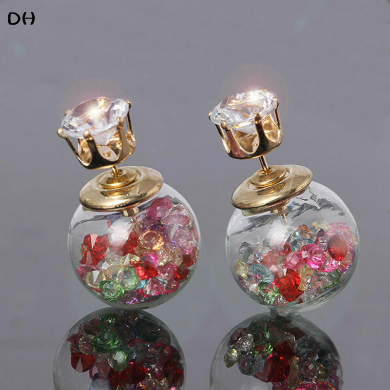 Гаджет  DH Stud Earrings Doubled Side Earrings Crystal Stud Bright Trendy Glass Pearl Earrings Shining Earrings For Woman E1538 E1542 None Ювелирные изделия и часы